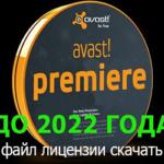 Avast Premier файл лицензии до 2022 года